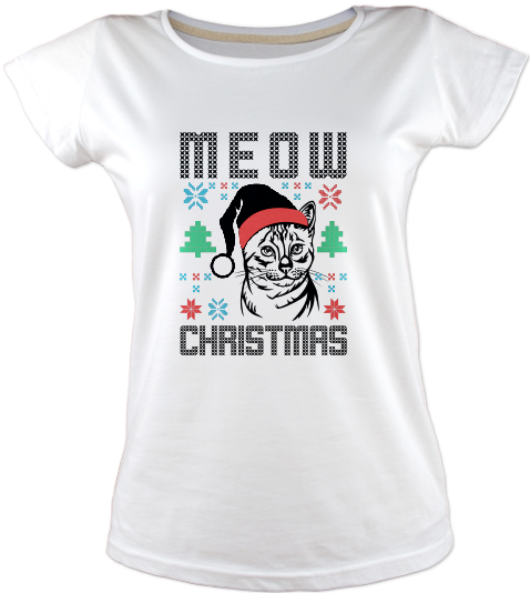 Meow-christmas-tisort-kadin-tshirt-tasarla-on3