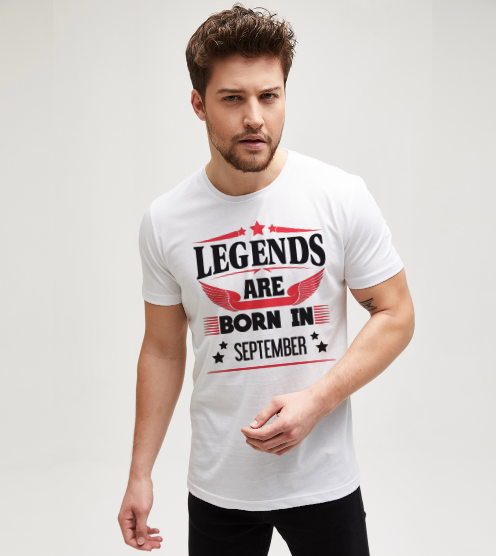 Legends-are-born-in-september-beyaz-tisort-erkek-tshirt-tasarla-on3